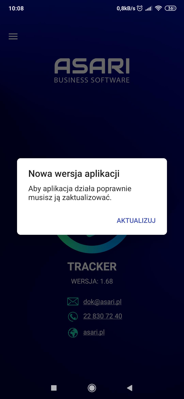 Informacja o konieczności aktualizacji aplikacji ASARI Tracker