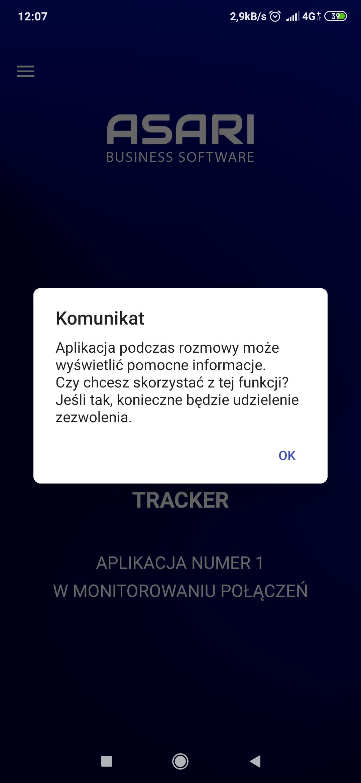Dodatkowe informacje wyświetlane przez ASARI Tracker