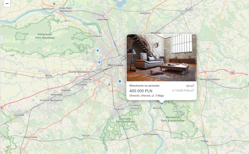 Miniaturki nieruchomości widoczne na mapie
