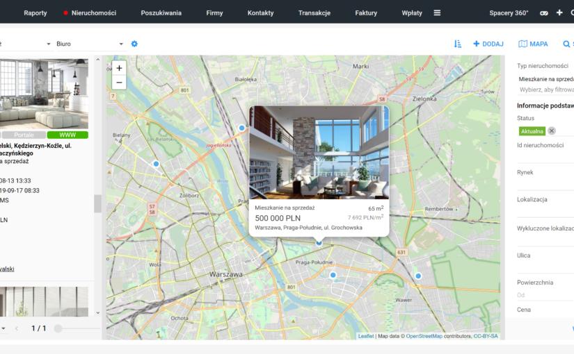 Pracuj na liście nieruchomości równocześnie z wyszukiwarką i mapą